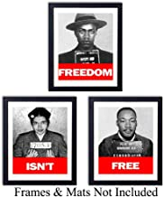 Black Leaders Wall Art Prints - Set of Three (8x10) Unframed Vintage Photos -Decor for Classrooms or Home - Great Gift for Black History Month - Martin Luther King, Malcom X and Rosa Parks - MLK