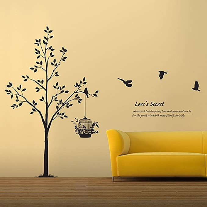 Tree Birds Wall Decal Living Room Quotes Love S Secret Never Seek To Tell Thy Love Vinyl Wall Art X Large Black Home Kitchen
