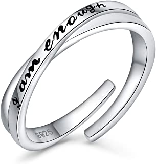URMWMOO 925 Sterling Silver I Am Enough Ring Adjustable Inspirational Rings Jewelry Gift for Women Girlfriend Size 6-9