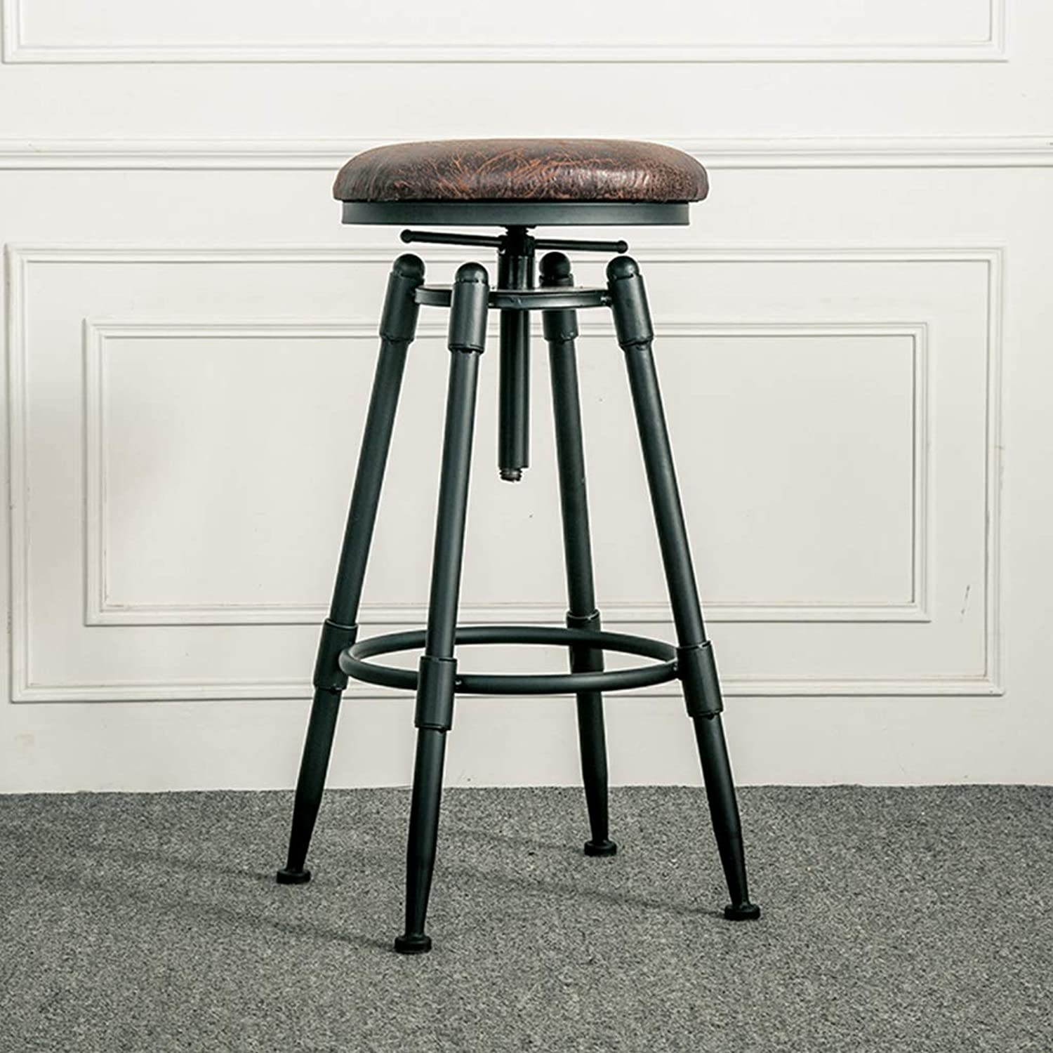 American Iron Art Bar Stool Retro Industrial Design redating Lift High Foot Chair Dining Seat Cafe Counter Household 0527A (color   B)