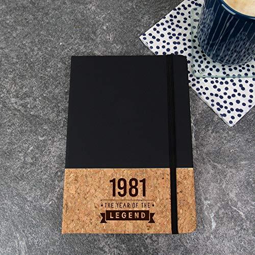 eBuyGB 2012923BL8 Cuaderno de corcho (A5, 1980 año de la leyenda), color negro