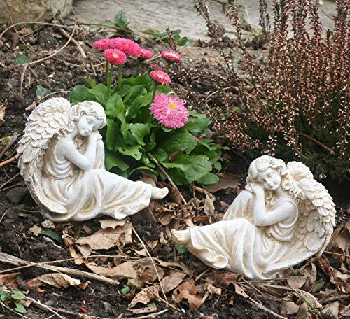 Set of 2 Garden Angels, polyresin, antique stone colour