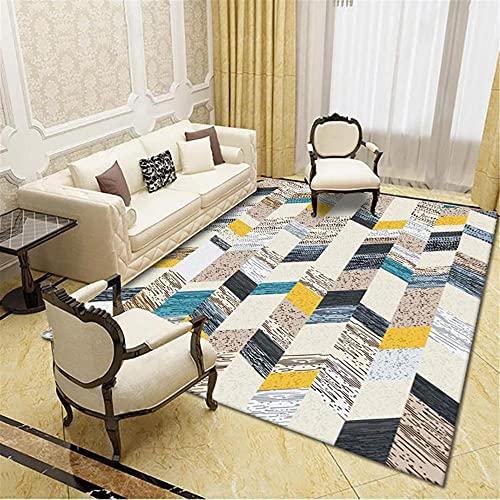 IRCATH Multicolor Empalme patrón geométrico país Estilo étnico Dormitorio de Noche salón Estudio Mesa de café Casual alfombra-120x180cm Resistente y Duradera Resistente a la presión sin decoloración