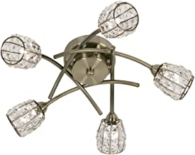 Oaks Lighting Naira Ceiling Fitting in Antique Brass Finish Complete with Crystal Beaded Shades