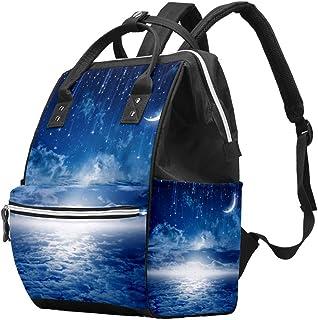 Multifunctionele grote baby luiertas rugzak, blauwe nachthemel met maan, sterren luiertas reizen rugzak voor mama en papa
