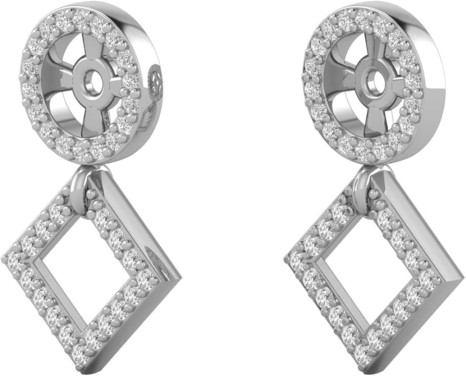 14K White Gold 1/4 Carat (H-I Color, SI2-I1 Clarity) Natural Diamond Removable Stud Earrings Enhancing Jackets with Kite Shaped Accented Dangle for Women (fits 4.5-5.5mm)