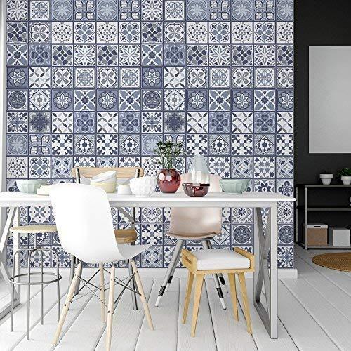 Walplus Adhesivos de Pared Extraíble Autoadhesivo Arte Mural Vinilo Decoración Hogar Bricolaje Living Cocina Dormitorio Decor Papel Pintado Regalo Lisboa Azul Azulejos - 20cm X - 12 PC