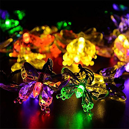 Solar String Lights,WONFAST Waterproof 16ft 20LED Butterfly Outdoor Fairy Lights for Christmas Home Patio Garden Porch Balcony Deorations (Multicolor)
