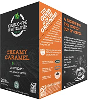 Club Coffee Craft Roasters Creamy Caramel - Flavoured Light Roast Single Serve Coffee K-Cup Pods, Compostable Plant-Based ...