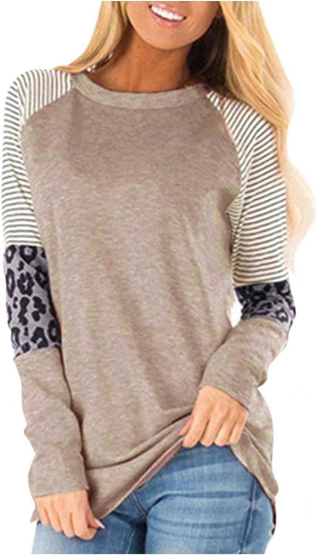 AODONG Womens Leopard Printed Tops Color Block Crew Neck Long Sleeve Sweatshirts Casual Blouses Cheetah Print Shirts
