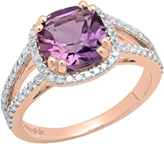 14K 8 MM Cushion Gemstone & Round Diamond Ladies Halo Engagement Ring, Rose Gold