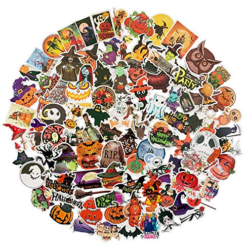 100 pcs Funny Halloween Stickers for Water Bottle Windows, Halloween Vinyl Stickers Halloween Decorations Gift for Party Kids Children Teens