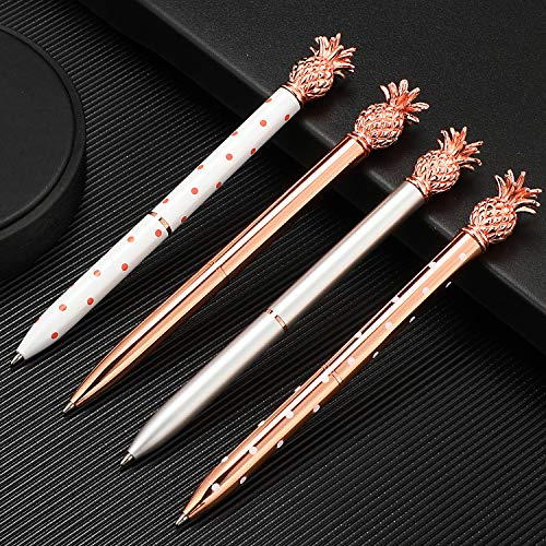 Pineapple Pens Metal Ballpoint Pens Rose Gold Pens for School Office Supplies, 1.0 mm, Black Ink (12 Pieces) Photo #7