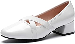 CINAK Women's Ballet Pumps Low Heel-Patent Leather Dress Fashion Shoes Comfort Classic Ballerina Chunky Heels