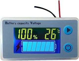 Voltímetro LCD Medidor de capacidad para batería de plomo ácido multifunción con indicador de temperatura de la batería, indicador de combustible Monitor de voltaje