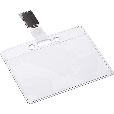 OPUS 2 ID Porte-Badges avec clips et Etui d'insertion de cartes (lot de 24) | Porte-cartes d'identité horizontal pour écoles, collèges, bureaux et événements d'entreprise | 90 x 60 mm