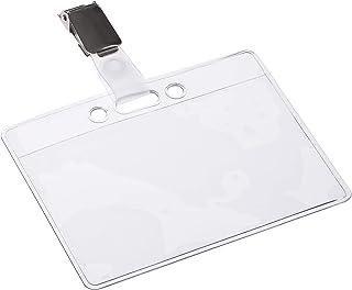 OPUS 2 ID Porte-Badges avec clips et Etui d'insertion de cartes (lot de 24) | Porte-cartes d'identité horizontal pour écol...