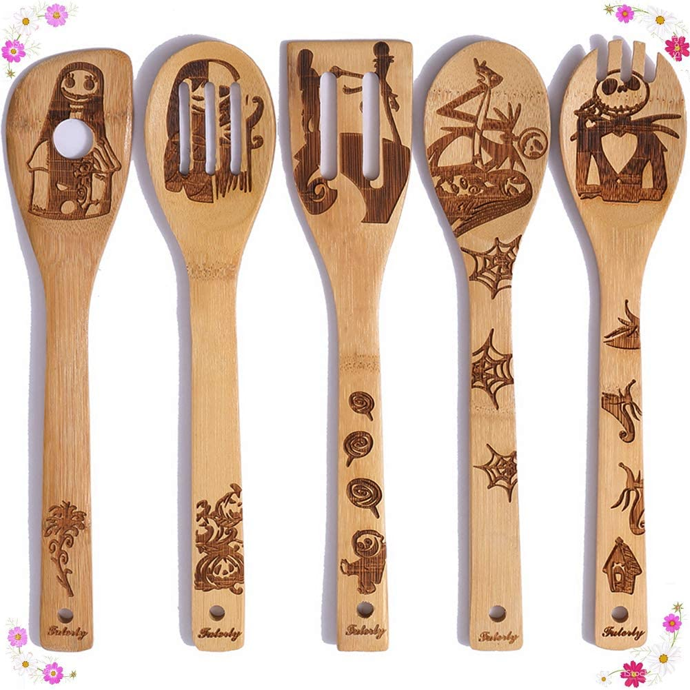 Natural Burned Bamboo Spoon Slotted Kitchen Utensil Fun Gift Idea Warming Present Set Of 5 Nightmare Before Christmas Wooden Spoons Cooking Serving Utensils Set Cooking Utensils Kitchen Utensils Gadgets Urbytus Com