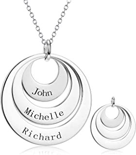 925 Sterling Silver Personalized Name Necklace Engraved 3 Disc Circle Necklace Custom Three Names Necklace Gift for Graduation Birthday