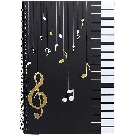 Classeur à Pochettes/Dossier de rangement pour partitions de musique/A4/30 pochettes/Sac de rangement pour documents de stockage de papier de chanson pour musiciens et musiciens/ Touches de piano