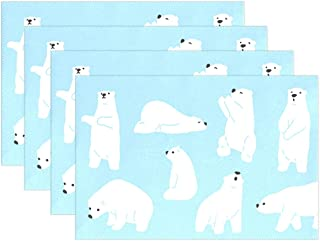 Cute Bear Polar Polyester Heat Resistant Washable Kitchen Table Mats Easy to Clean Placemats for Dining Table Set of 4