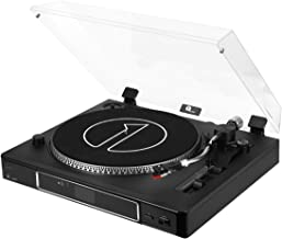 1byone 3 Speed Semi Automatically Belt Driven Turntable with Magnetic Phono Cartridge, Adjustable Counterweight, USB Vinyl to MP3 Record Player