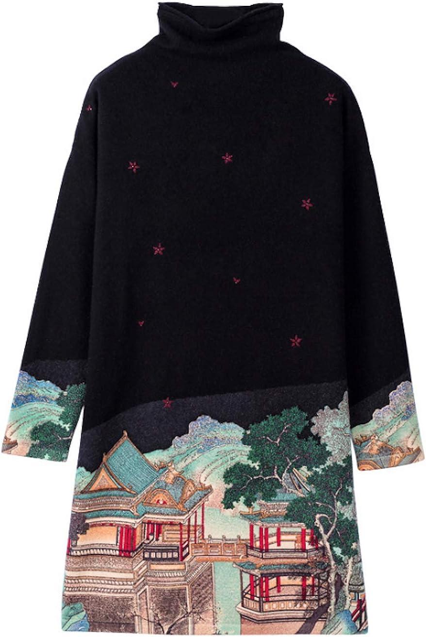 HangErFeng Dress Printed Wool Knitting Stretch High Neck Pullover Long Slim Sweater Skirt H1175