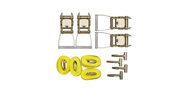 Bang4buck 12 Pieces Combo Towing Kit 4X Lasso Straps Wheel Lift Strap 4 x 2 Ratchet 4 xJ Finger Hooks