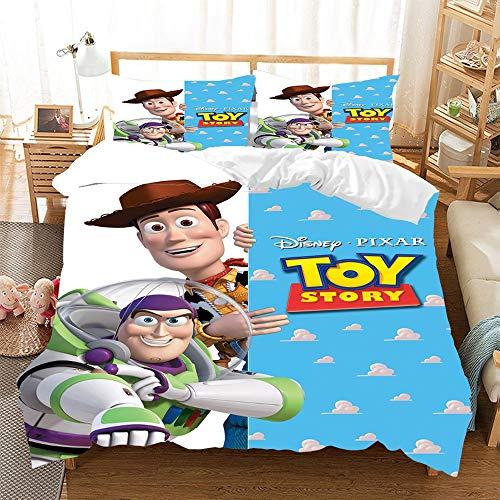 BMKJ Juego de ropa de cama de 3 piezas con diseño de dibujos animados Toy Story funda nórdica de...