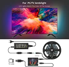 DreamColor USB LED Strip Light Kit with APP, Rope Lighting RGB Dream Color Strip TV Bias Lighting, WS2812 Tape Ribbon String for 27-40 Inches HDTV, Desktop PC Screen, Individually Addressable LED