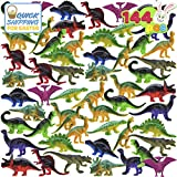 """JOYIN 144 Pcs 2.5"""" Mini Dinosaur Toy Set Figure for Kids Party Packs, Party Favors, Cake Toppers, Stocking Stuffers, Easter Basket Stuffers and Toddler Education"""