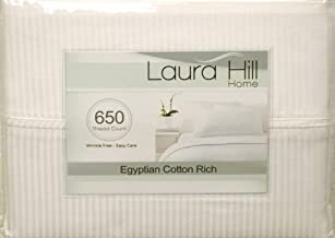 EGYPTIAN COTTON 650 Thread Count, Laura Hill Collection, FULL 4pc Sheet Set, 1-LHS-105, WHITE STRIPE
