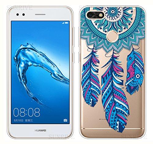 Sunrive Für Huawei Y6 Pro 2017 Hülle Silikon, Transparent Handyhülle Schutzhülle Etui Hülle Backcover für Huawei Y6 Pro 2017 / P9 Lite Mini(TPU Traumfänger)+Gratis Universal Eingabestift