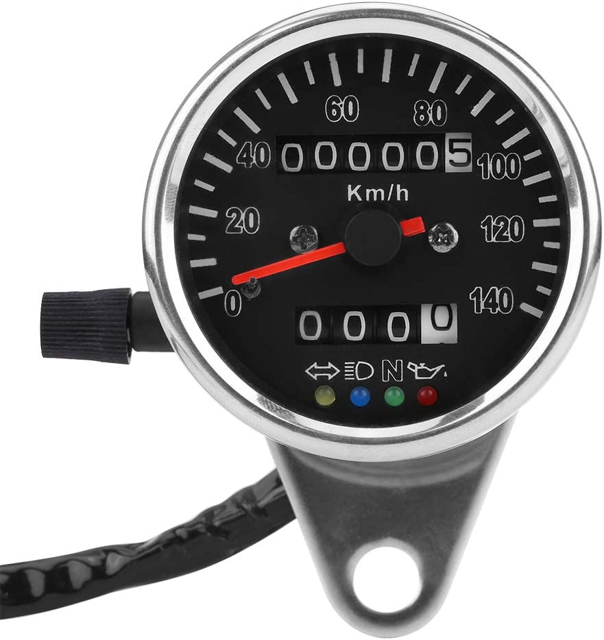 Motorcycle Speedometer Gauge 65 OFFicial mail order mm Black LED Face Mechanical Mo Max 46% OFF