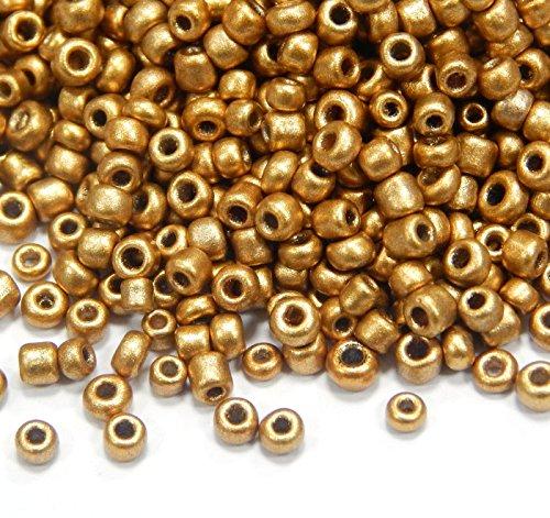 6500 perline in vetro da 2 mm, set di perline per pony, 11/0, mini perline per bambini, perline per bambini, colori assortiti (oro opaco)