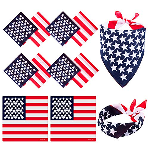 Whaline 12 Pack America Flag Bandana USA Flag Handkerchief America Flag Headband Scarf July 4th Bandanas Cotton Unisex Patriotic Accessories for Wristband Headwear Raves Riding Outdoors Parties 55cm