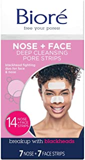 Bior� Nose+Face, Deep Cleansing Pore Strips, 14 Count, 7 Nose + 7 Chin or Forehead, with Instant Blackhead Removal and Pore Unclogging, Oil-free, Non-Comedogenic Use (Packaging May Vary)