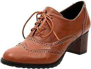 ab7ca85a34a559 Derbies Femme Talon Cuir Brogues Chaussure Plateforme Derby Lacets  Mocassins Bloc Talons 6cm Cheville Chaussures De