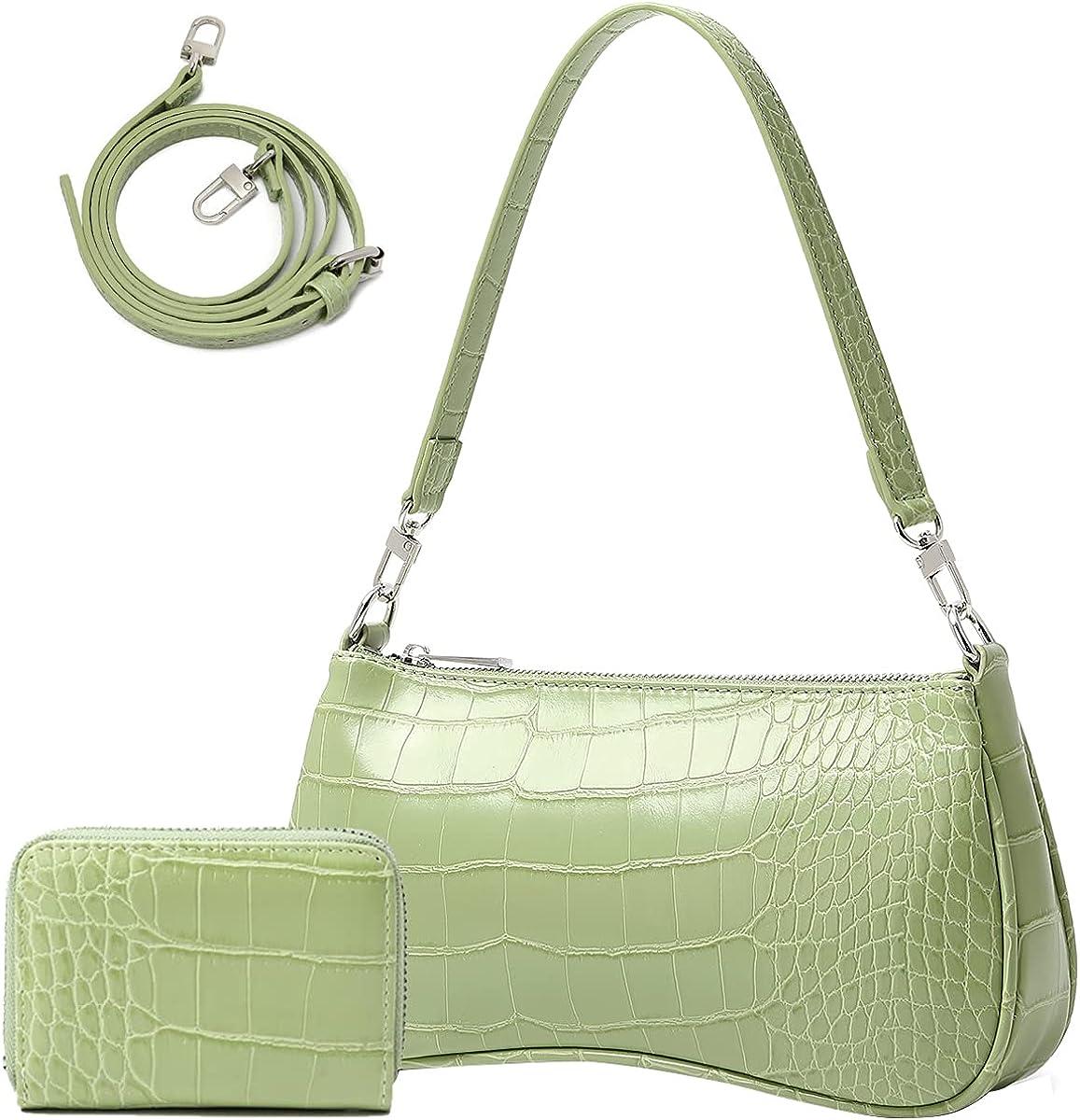 Shoulder Bag for Women 90s Trendy Purse Small Crocodile Clutch Y2K Fashion Mini Handbag with Crossbody Strap