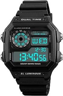 Men's Dual-Time Countdown Alarm Chronograph Black PU Watch #03093-76189