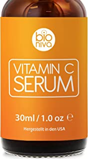 Bioniva Vitamin C Serum für Ihr Gesicht mit 20% Vitamin C  Hyaluronsäure  Vitamin E  Jojobaöl. Natürliche AntiAging  Anti Falten  Bio Kollagen Booster Gesichtsserum mit organischen Inhaltsstoffen. Ideal für den Einsatz mit einer Derma Roller. 30 ml