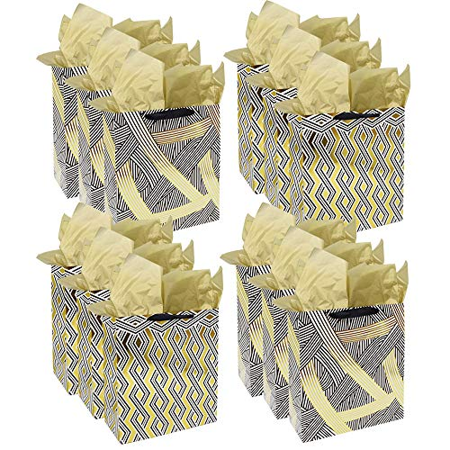Metallic Gold Gift Bags 12 pcs Bulk with Tissue Paper Large Recyclable Assorted Colors Party Favor Bags for All Occasions Birthday Wedding Christmas Bridal Shower,12.6 x 10.2 x 4.7 inch, by BllalaLab
