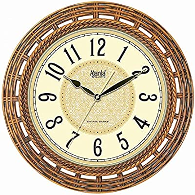Ajanta Plastic Quartz Real Sweep Movement Wall Clock for Home (Ivory, 16 Inch)