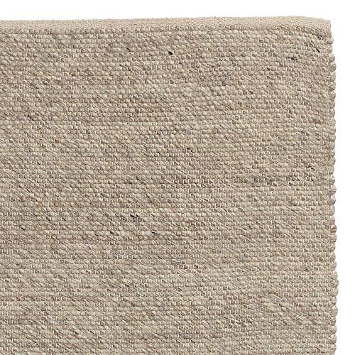 """URBANARA Teppich """"Kesar"""" – 140cm x 200cm - Creme/Grau/Sand - 60% Wolle & 15% Jute & 25% Baumwolle – Woll-Teppich mit flachen Schlingen - Handgewebt - 100% Natürlich"""