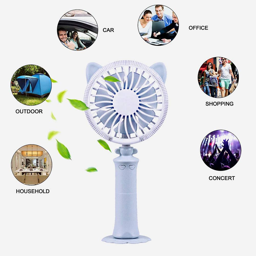 Ovelur Mini Personal Adjustable Desktop Table Cooling USB Fan with LED Night Light 2 Speed for Home Office Bedside Reading Blue Portable Handheld Fan