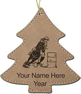 LaserGram Faux Leather Christmas Ornament, Barrel Racer, Personalized Engraving Included (Light Brown Tree)