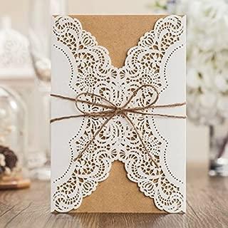 VStoy cortado con láser hecha a mano tarjetas de invitaciones de boda blanco 20piezas Kit para matrimonio compromiso para cumpleaños novia ducha con rústico cuerda sobres sellos recuerdo de la fiesta