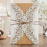 VStoy corte láser hecha a mano tarjetas invitaciones de boda Color Blanco 20Piezas Kit para el matrimonio de compromiso para novia de cumpleaños ducha rústico con cuerda sobres sellos de recuerdo de la fiesta
