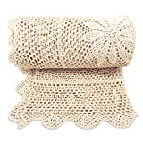 Zenviro The Boho Throw Natural 50x60 100% Hand Made Cotton Lightweight Decorative Knitted Crochet Macrame Throw Blanket - Couch, Chair, Sofa, Bed, Picnics, Gift, Photography