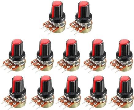 uxcell 可变电阻器单转旋转碳膜锥度电位计带旋钮,红色 12Pcs 1K a18091100ux0440